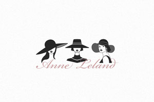 Fashion Designer Business Brand Logo with Women in Hats 標籤