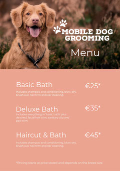 Soft Pink with Paw Prints and Dog, Dog Grooming Menu Flyer Cleaning Service
