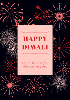 Black White and Red Happy Diwali Card Diwali