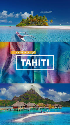 Tahiti Travel and Tourism Ad with Collage of Tropical Exotic Landscapes Boats