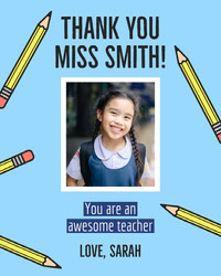 Blue Pencils and Schoolgirl Photo Thank You Teacher Appreciation Card Thank You Messages
