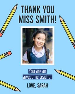 Pencils Thank You Teacher Appreciation Card