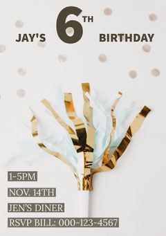 White, Gold and Brown Birthday Party Invitation Card Confetti