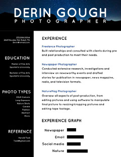 Black and Blue Photographer Resume Fashion Magazines Cover