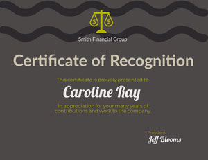 Grey and Black Award Certificate Award Certificate
