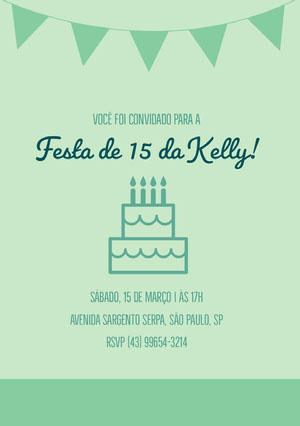 Festa de 15 da Kelly! Convite de aniversário