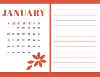 Red january Calendar with Notes Calendar
