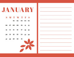 Red january Calendar with Notes Flowers