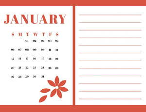 Red january Calendar with Notes 달력