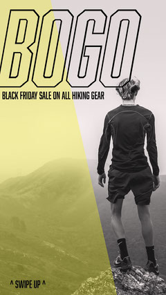 Yellow and Gray Hiking Equipment Sale Instagram Story Bogo