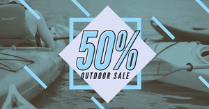 Blue Outdoor Sportswear Sale Facebook Post Ad with Kayakers Produktfotos für Facebook-Shop