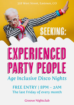 Pink All Ages Inclusive Disco Night Flyer Night Club Flyer
