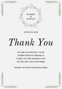 green wreath wedding thank you card mariage