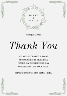 green wreath wedding thank you card Bryllupstakkekort