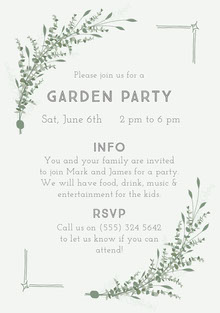 White Garden Party Invitation Convite