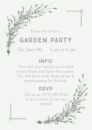 Garden Party Invitación de fiesta