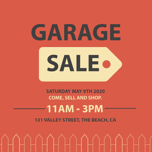 Red, Yellow and Grey Garage Sale Ad Instagram Post Yard Sale Sign