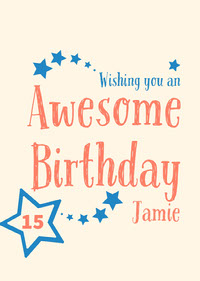 Blue and Orange Handwriting and Stars Happy Birthday Card d'anniversaire