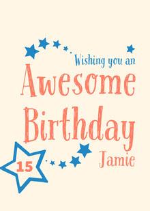 Blue and Orange Handwriting and Stars Happy Birthday Card Birthday Card
