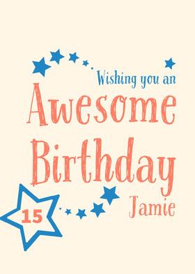 Blue and Orange Handwriting and Stars Happy Birthday Card Bachelorette Party Invitation