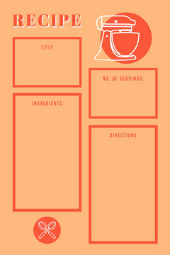 Beige Orange Mixer Recipe Card Recipes