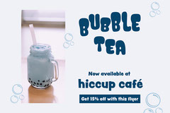 Light Blue Bubbles 'Bubble Tea' Postcard Flyer Drink