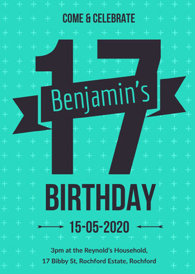 Teal 17th Birthday Party Invitation Card for Boy Birthday Invitation (Boy)