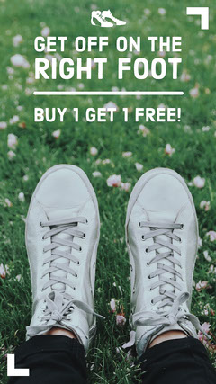 Shoe Store Instagram Story Ad with Feet and Grass Instagram Story