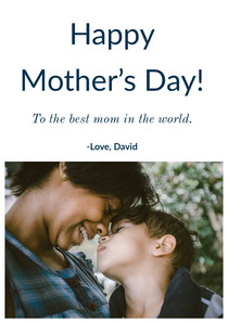 Mothers Day Card with Photo of Mother and Son Cartão de Dia das Mães