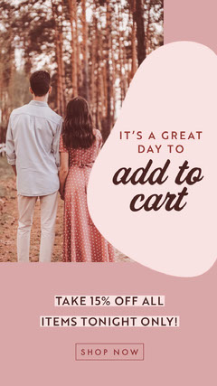 ig story pink couple fall park shopping ad 15% off Story