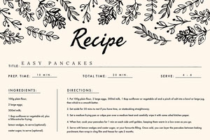 Pink and Black, Light Toned Pancakes Recipe Card 食譜卡