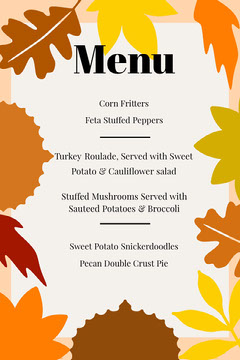 Autumn Leaves Thanksgiving Dinner Menu Thanksgiving Menu