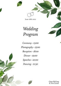 Cassell Wedding Program Weddings