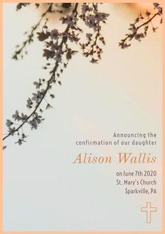 Bright and Orange Confirmation Announcement Religion