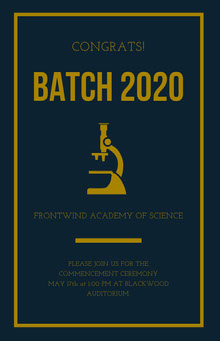 Gold and Dark Blue Science University Graduation Poster School Posters