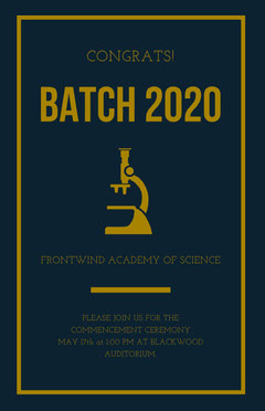 Gold and Dark Blue Science University Graduation Poster Science