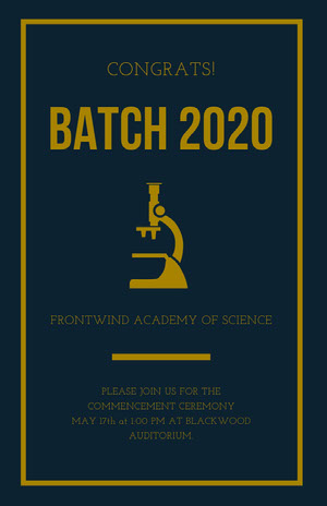Gold and Dark Blue Science University Graduation Poster Graduation Poster