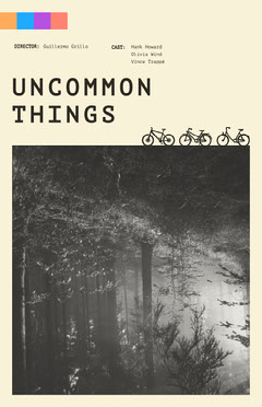 Black and White Movie Poster with Forest and Bicycles Forest