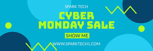 Blue and Yellow Cyber Monday Sale Ad Facebook Banner Black Friday