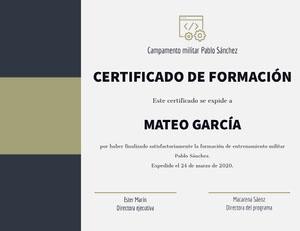 CERTIFICADO DE FORMACIÓN Certificado