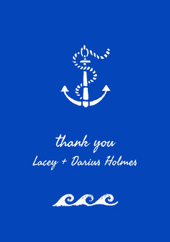 White and Blue Wedding Thank You Card Christmas Party