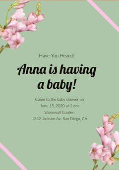 Green and Pink Flowers Baby Shower Invitation Baby Shower (Girl)