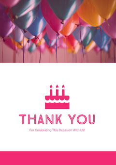 Pink and White Thank You Card Balloon