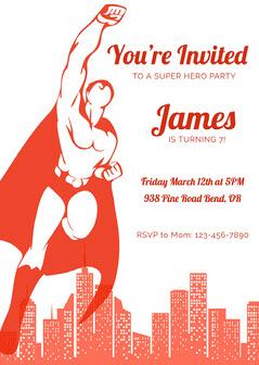 Red Retro Superhero Invitation Superhero