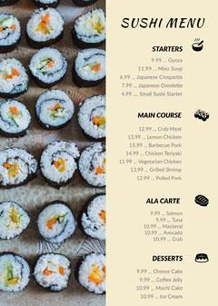 Beige With Fresh Sushi Restaurant Menu Dinner Menu