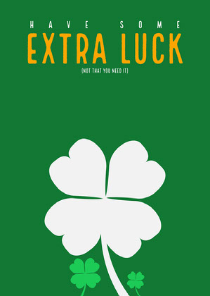 Green Four Leaf Clover Irish Good Luck Card Good Luck Card