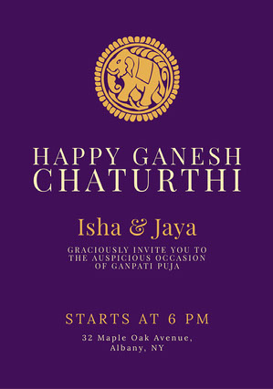 Purple Ganpati Invitation Griha Pravesh Invitation
