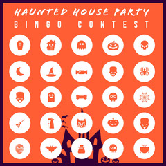 Orange Haunted House Halloween Party Bingo Card Halloween Party Bingo Card