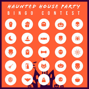 Orange Haunted House Halloween Party Bingo Card Carta da bingo