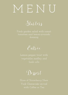 Beige Elegant Wedding Menu Menu per matrimonio